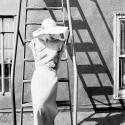 MODELING LINEN SUMMER DRESS, 1949