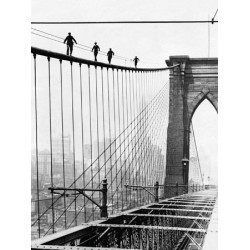 MEN WALK ON BROOKLYN BRIDGE, 1926