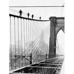 MEN WALK ON BROOKLYN BRIDGE, 1926