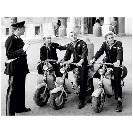 OUT FOR A MOTORBIKE RIDE, ROME 1954