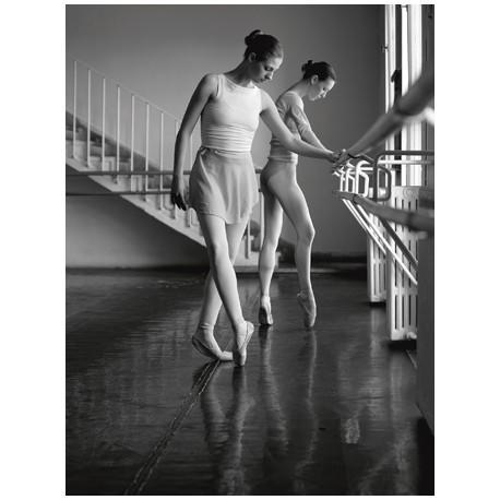 FEMALE BALLET DANCERS EXERCISING (DETAIL)