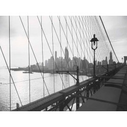 MANHATTAN SEEN THROUGH CABLES OF BROOKLYN BRIDGE, 1937