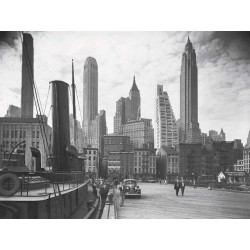 NEW YORK SKYLINE WITH TUGBOAT, 1937