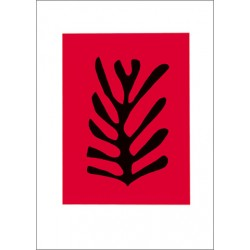 LEAF BLACK ON RED BACKGROUND, 1947