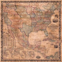 MAP OF THE UNITED STATES AND NORTH AMERICA, 1856