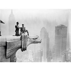 WORKMEN SMOKING ATOP GARGOYLE, 1940S