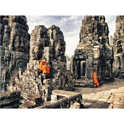 BOY MONKS READING IN ANGKOR WAT…