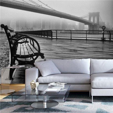 Fotomural A Foggy Day on the Brooklyn Bridge