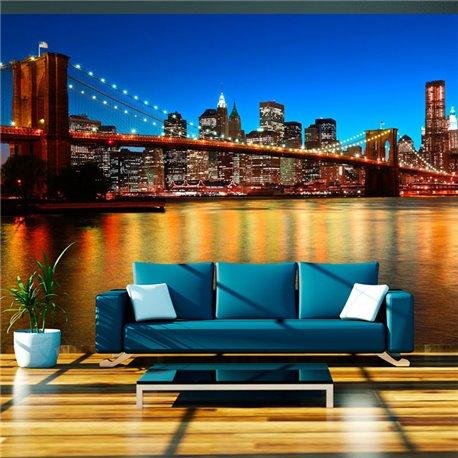 Fotomural El crepúsculo al Puente Brooklyn