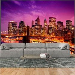 Fotomural Manhattan y el Puente Brooklyn de Noche