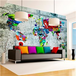 Fotomural Graffiti Mapamundi