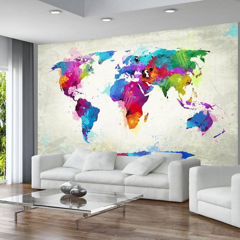 Murales paredes originales mapamundi colores acuarelas - Cuadros murales para pared ...
