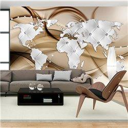 Fotomural Mapa del Mundo, Blanco & Diamantes