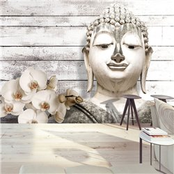 Fotomural Composición Buda, Flores y Madera