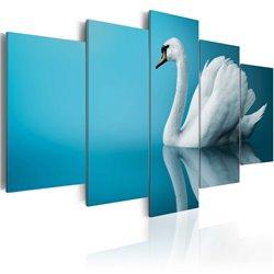 Cuadro Un cisne en fondo azul