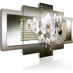 Cuadro Orquídea y jardín zen en gris