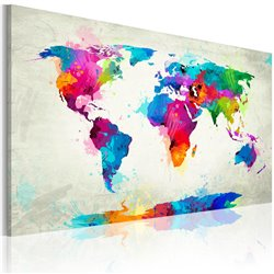 Cuadro Map of the world - an explosion of colors