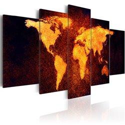 Cuadro Mapa del Mundo - lava caliente