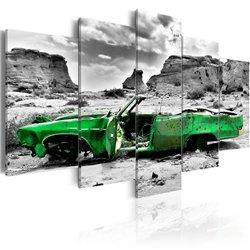 Cuadro Coche verde al estilo retro en el Desierto de Colorado