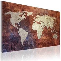 Cuadro Mapa del mundo color metal oxidado