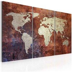Cuadro Mapa del mundo color metal oxidado- tríptico