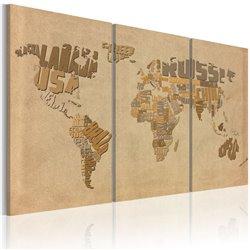 Cuadro Antiguo mapa del mundo - tríptico