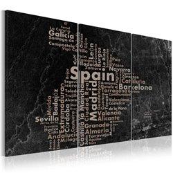 Cuadro Map of Spain on the blackboard - triptich
