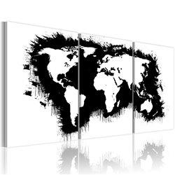 Cuadro El mapa del mundo en blanco y negro