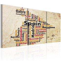 Cuadro España: Mapa de texto en colores de la bandera nacional