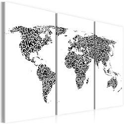 Cuadro El mapa del mundo - alfabeto - tríptico