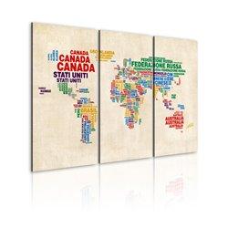 Cuadro Nombres italianos de los países en colores vivos - Tríptico