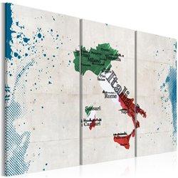 Cuadro Mapa de Italia - tríptico