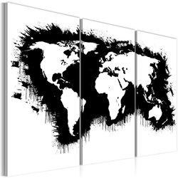 Cuadro Mapa monocromático del mundo - tríptico