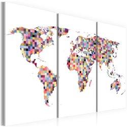 Cuadro Mapa del Mundo - píxeles - tríptico