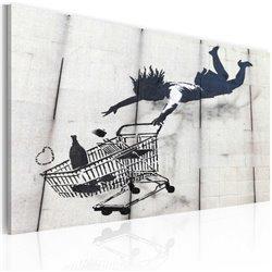 Cuadro Muyer con un carrito de compras cayente (Banksy)