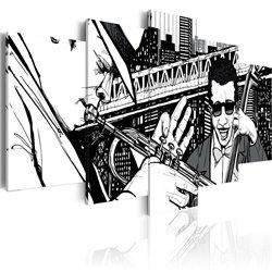 Cuadro Concierto de jazz en el fondo de los rascacielos de Nueva York - 5 piezas