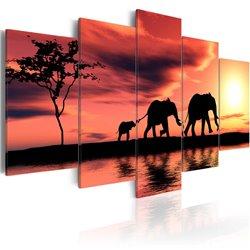 Cuadro Familia de elefantes africanos