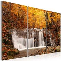 Cuadro Una cascada en la mitad de los árboles en otoño