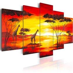 Cuadro Jirafas con la puesta del sol en el fondo