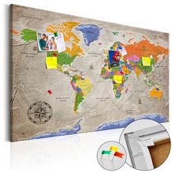 Tablero de corcho - World Map: Retro Style [Cork Map]