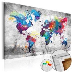 Tablero de corcho Mapa de Mundo: Grey Style