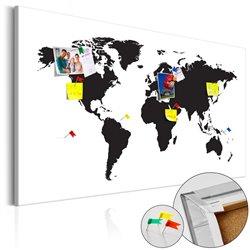 Tablero de corcho Mapa de Mundo: Black & White Elegance