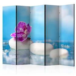 Biombo Pink Orchid and white Zen Stones II