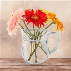 Fleurs et Vases Jaune I