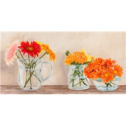 Fleurs et Vases Jaune