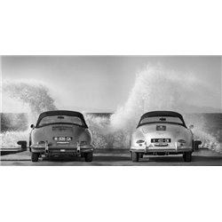 Ocean Waves Breaking on Vintage Beauties (BW)