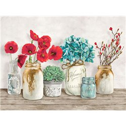 Floral composition with Mason Jars