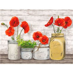 Poppies in Mason Jars (detail)