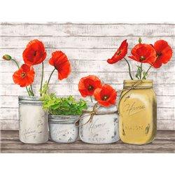 Poppies in Mason Jars (detail)