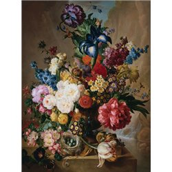 Poppies, Peonies and other Flowers in a Terracotta Vase